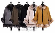 New Ladies Italian Faux Fur Wool Mix Poncho Women Open Front Cape Shawl PlusSize
