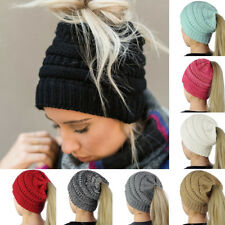New Ponytail Beanie Hat High Bun Knitted Cap Skull Stretchy Winter Warm Fashion