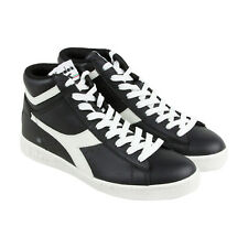 Diadora Game L High Waxed Mens Black Leather High Top Lace Up Sneakers Shoes