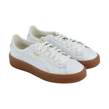 Puma Basket Platform Core Womens White Leather Lace Up Sneakers Shoes