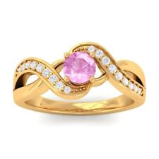 Pink Sapphire IJ SI Diamonds Gem Engagement Ring Women 18K Solid Gold