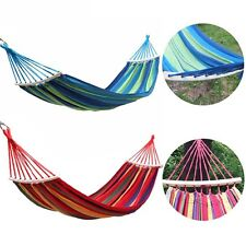 Double Hammock Tree 1/2 People Person Garden Bed Swing Outdoor with Wooden Stick