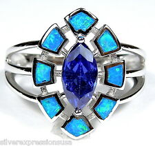 0.76 ct  Blue Fire Opal Inlay 925 Sterling Silver & Tanzanite Ring size 5.5 - 9