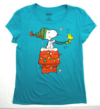 SNOOPY & WOODSTOCK CHRISTMAS T-SHIRT Juniors Women's  NEW! HOLIDAY PEANUTS !