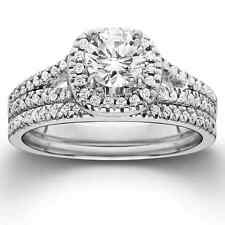 14k White Gold 1ct TDW Diamond Halo Engagement Wedding Ring Set