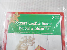 3 Styles Holiday Christmas Cookies Candy Gift Boxes 2/PK Square w Window 6X6X3