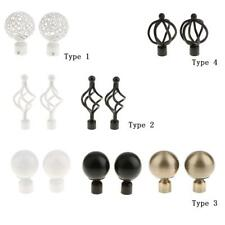 Pair Curtain Pole Recess Brackets Curtain Rods Finials Window Treatment Hardware