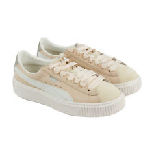 Puma Platform Up Womens Beige Leather Lace Up Sneakers Shoes