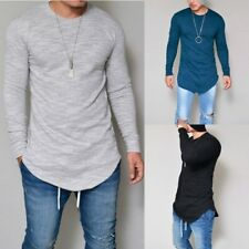 Longline Mens Slim Fit V Neck Long Sleeve Muscle Tee T-shirt Casual Tops Blouse