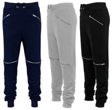 Mens Slim Fit Joggers Pants Biker Track Cuff Ribbed Waistband Skinny Bottoms Gym