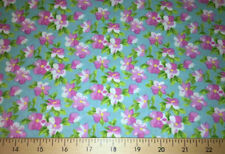 Pink & Blue Floral Cherry Blossoms Fabric Cotton Quilting Fabric a2/16