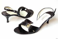 new Versani 922 black leather open-toe slingback sandals Shoes made in Italy