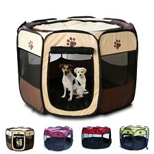 Pet Dog Cat Playpen Tent Portable Exercise Fence Kennel Cage Folding Crate S M