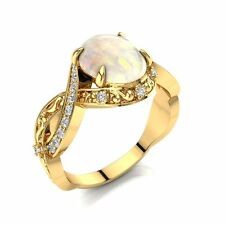 Art Deco Engagement Ring, Opal and Diamonds Engagement Ring,14k Yellow Gold Ring
