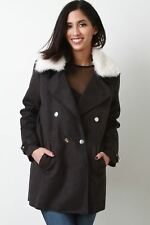 Woman Coat Suede Faux Fur Collar Long Belted Sleeves Button Up Jacket
