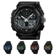 Waterproof Silver Date Multifunction Sport Analog Digital Alarm Wrist Watch Men