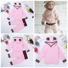 Infant Baby Girl Outfit Leopard Print Long Sleeves Hooded Tops + Pants Set Dress