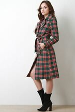 Woman Long Sleeves Lapel Collar Button-Up Jacket Plaid Trench Coat