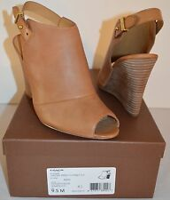 New $158 Coach Lindsay Ginger Brown Burnished Calf Matte Leather Wedge Peep Toe