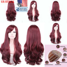 US Womens Natural Hair Wig Long Wavy Curly Hair Cosplay Synthetic Thick Full Wig