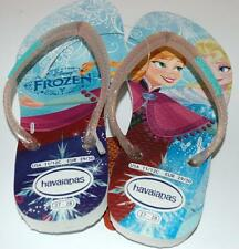 HAVAIANAS Genuine BNWT Kids Girls THONGS FLIP FLOPS FROZEN PRINCESS White Logo