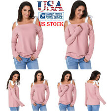 US Women Off Shoulder Bowknot Tie Sweater Long Sleeve Blouse Pullover Shirt Tops