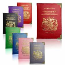 Passport Holder UK European Travel PU Leather Protector Cover Wallet Pocket Fit