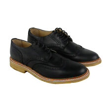 Frye James Crepe Wing Tip Mens Black Leather Casual Dress Lace Up Oxfords Shoes