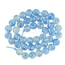 "15"" Round Blue Flower Beads Spacer Resin DIY Jewelry For Bracelet Anklet 10/12mm"