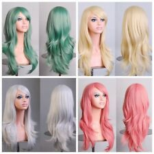Womens Anime Cosplay Hair Wigs Long Curly Heat Resistant Wig Pop Party Costume