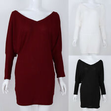 Womens Casual V Neck Batwing Sleeve Stretchy Bodycon Party Dress