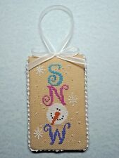 "Finished Completed Cross Stitch ""SNOW"" Door Hanger or Ornament by Val's Stuff"