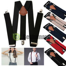 Mens Womens Clip-on Suspenders Elastic Y-Shape Adjustable Braces (Reg&Tall)
