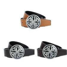 Men's Leather Belts with Round Celtic Knot Cross Buckle Snap on Style Belt