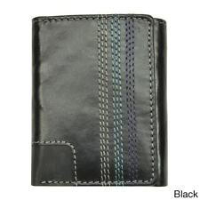 Men's Leather Topstitched Tri-fold Wallet
