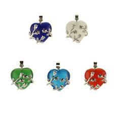 Flower Wrapped Heart Natural Crystal Pendant for DIY Charm Necklace Pendant