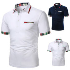 US Men Polo Shirts Short Sleeve Collar Basic Tee Casual Blouse Tops T-Shirt Golf