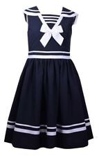 Bonnie Jean Navy Blue Sailor Dress with White Bow Girls Baby Spring Nautical New