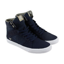 Supra Aluminum Mens Blue Canvas High Top Lace Up Sneakers Shoes
