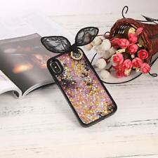 3D Rabbit Ear Quicksand with Sequins Stars Hard Case with Bead Sling For FT