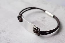 IDENTITY BRACELET FOR MEN - PERSONALISED LEATHER ID bracelet - range of colours