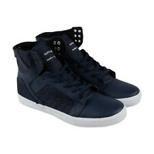 Supra Skytop Mens Blue Leather & Textile High Top Lace Up Sneakers Shoes