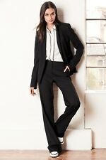 £28 Ex Next Ladies Smart Black Tailored Textured Slouch Straight Leg Trousers