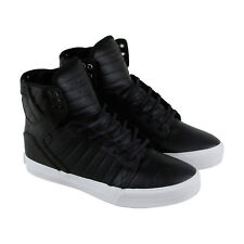 Supra Skytop Mens Black Leather & Suede High Top Lace Up Sneakers Shoes