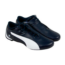 Puma Bmw Ms Future Cat Mens Blue Leather Lace Up Sneakers Shoes