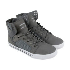Supra Skytop Mens Gray Mesh & Leather High Top Lace Up Sneakers Shoes