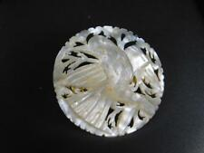 Very Pretty Little VINTAGE Hand Carved Mother of Pearl Brooch / Pin