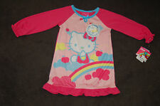 NWT Toddler Girls Hello Kitty Long Sleeve Nightgown Pink Pajama Size 2T 4(S) FS!