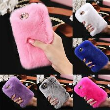 Cool Luxury Warm Soft Furry Rabbit Fur Diamond Back Case Cover For iPhone  EC