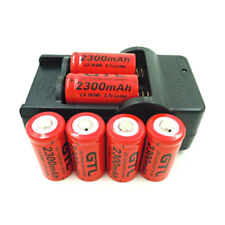 Rechargeable 3.7V 2300mAh Li-ion GTL CR123 CR123A 16340 Batteries & Charger